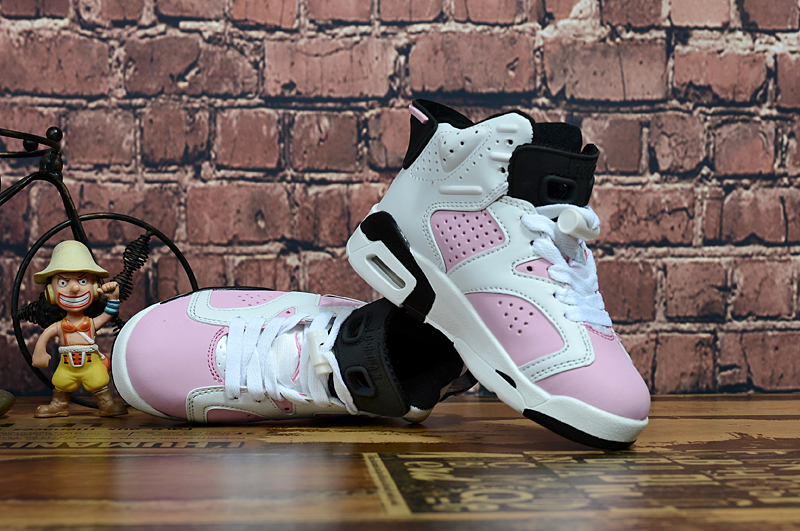 Air Jordan 6 Retro Pink White Black Shoes For Kids