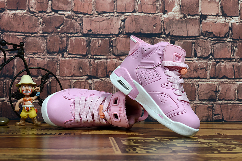 Air Jordan 6 Retro Pink White Shoes For Kids