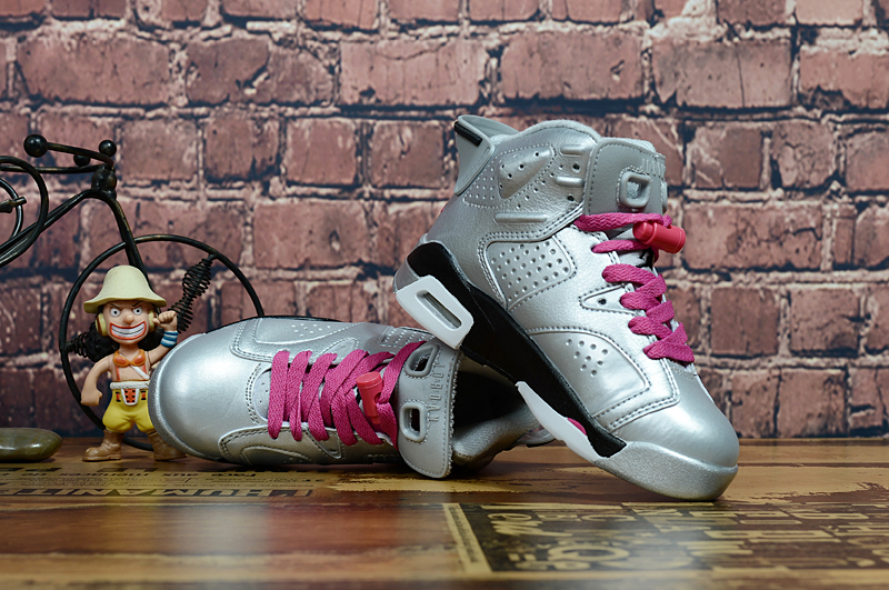 Air Jordan 6 Retro Silver Pink Shoes For Kids