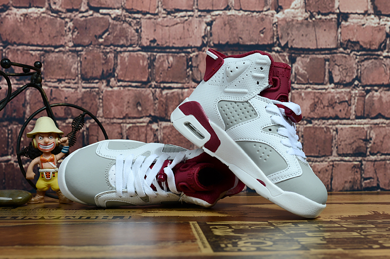 Air Jordan 6 Retro White Grey Wine Red Shoes For Kids