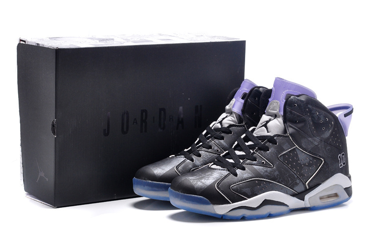New Air Jordan Retro 6 Slam Dunk Black Purple Lovers Shoes
