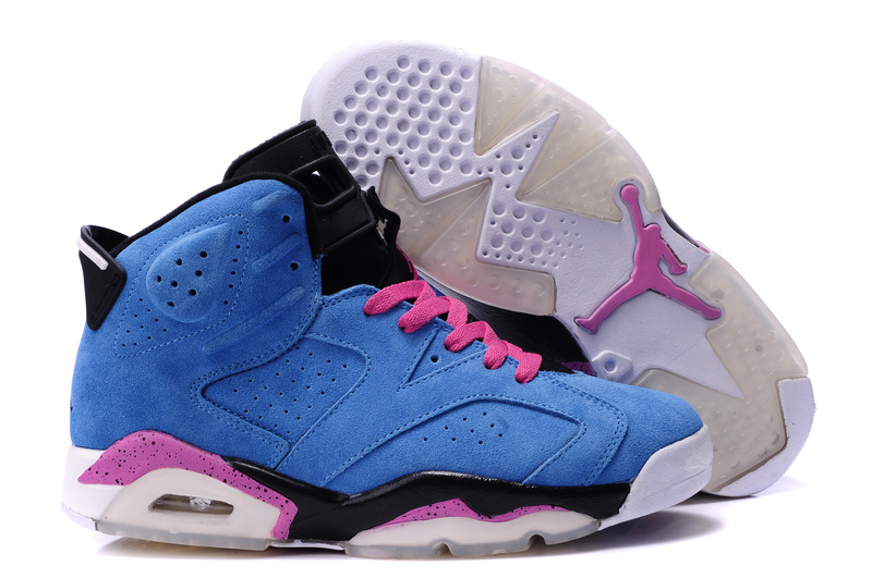 Air Jordan 6 Suede Blue Pink Black Shoes