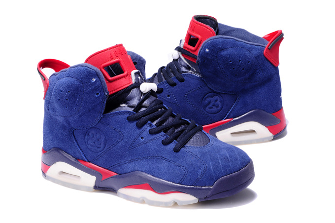 Air Jordan 6 Suede Blue White Red Shoes