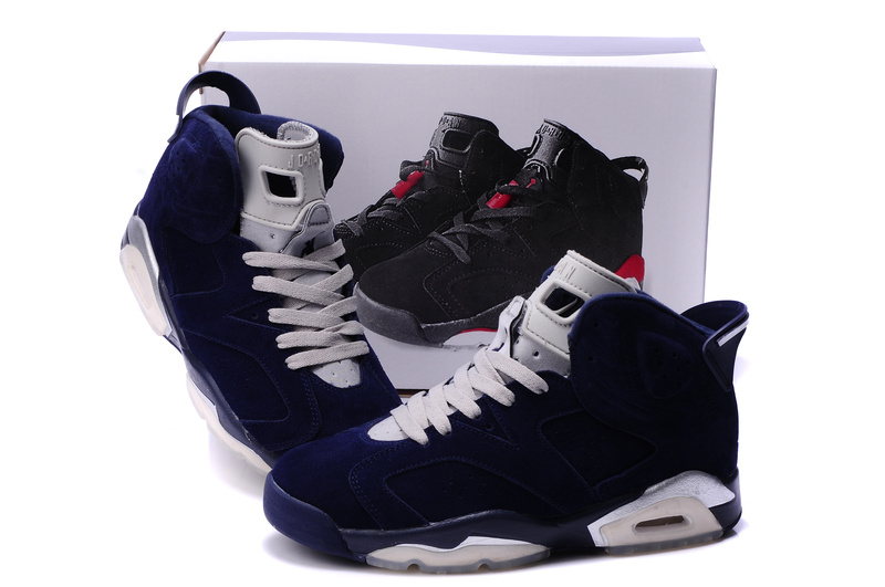 Air Jordan 6 Suede Dark Blue White Shoes