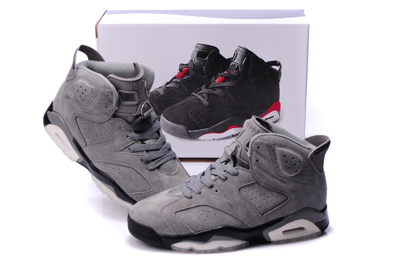 Air Jordan 6 Suede Grey Black Shoes