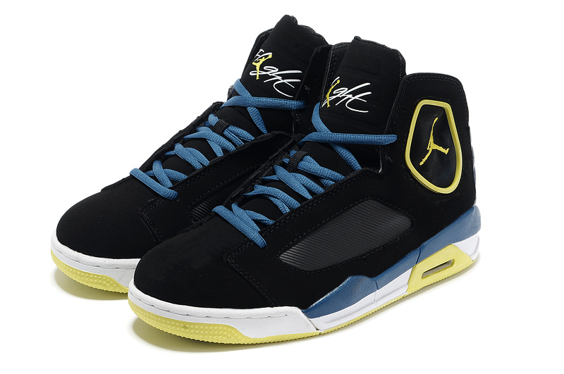 2013 Air Jordan Flight Luminary Black Yellow White Shoes
