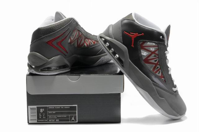 2012 Jordan Flight The Power Grey Red Shoes