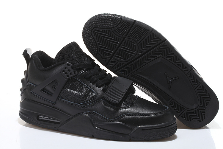 2015 All Black Air Jordan 4 Shoes With Strap