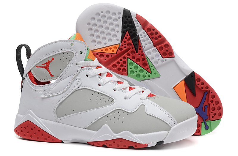 2015 Real Bugs Bunny Air Jordan 7 White Grey Red For Women