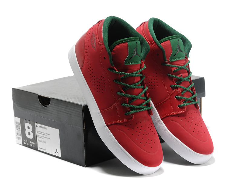 Cheap Real Casual Jordan 1 Red Green Shoes