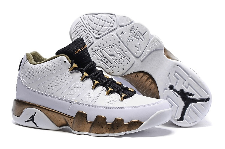 Cheap Nike Air Jordan 9 Retro Low Copper Statue White Black Militia Green