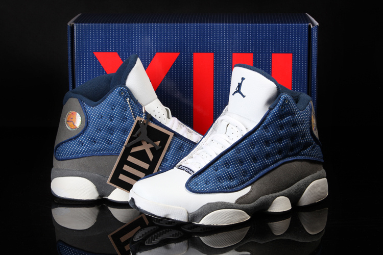 2013 Summer Jordan 13 White Blue Grey Shoes