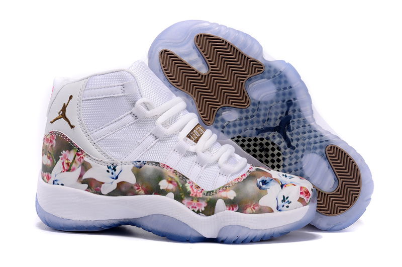 Girls Air Jordan 11 GS Floral Flower Custom White Brown Shoes