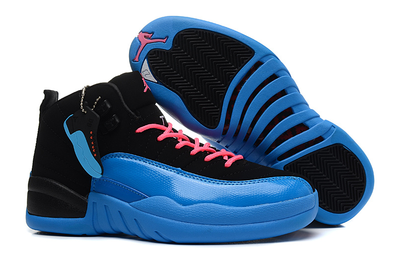 Girls Air Jordan 12 GS Black Blue Pink For Womens Onlline