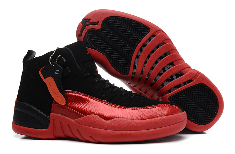Girls Air Jordan 12 GS Black Red For Womens Cheap