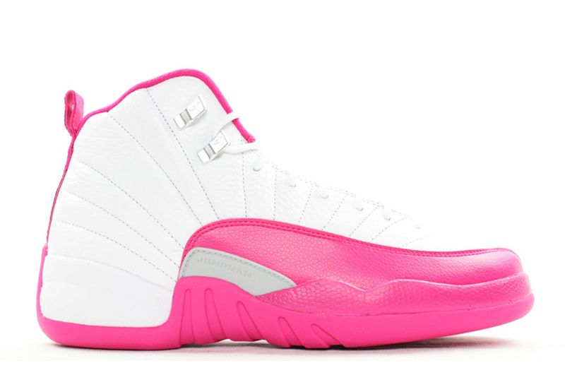 Girls Air Jordan 12 GS Vivid Pink White Vivid Pink Metallic Silver