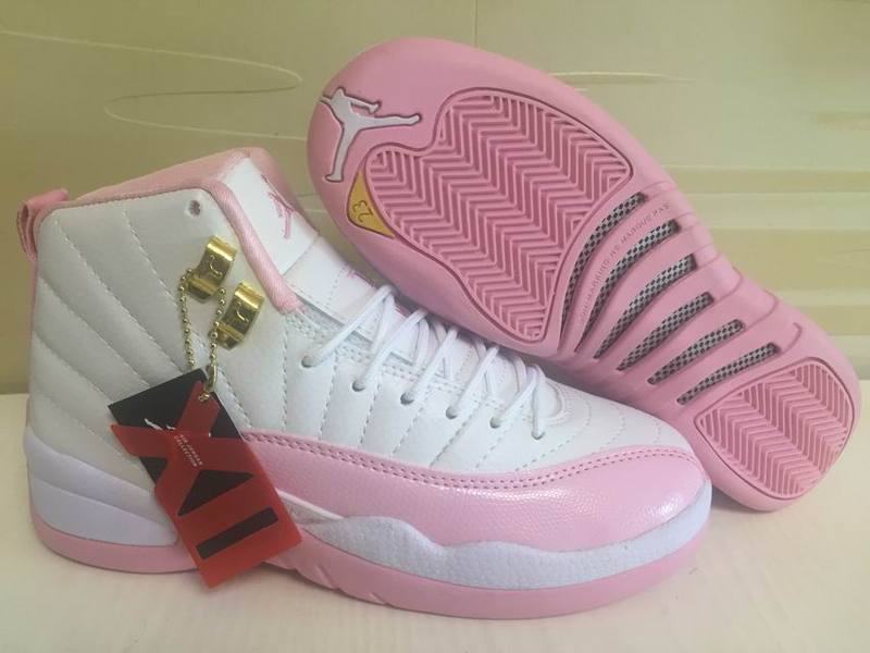 Girls Air Jordan 12 GS White Real Pink