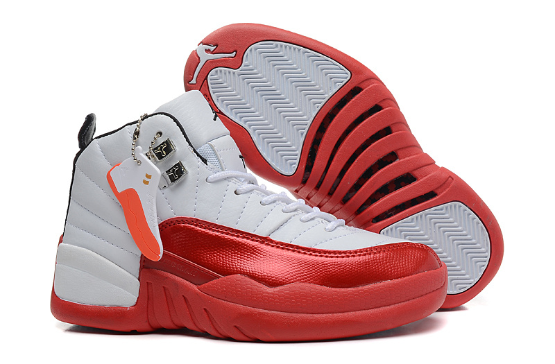 Girls Air Jordan 12 GS White Red For Womens Onlline