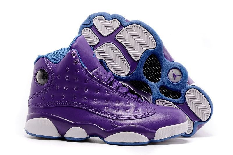 Girls Air Jordan 13 GS Hornets Purple Orion Blue