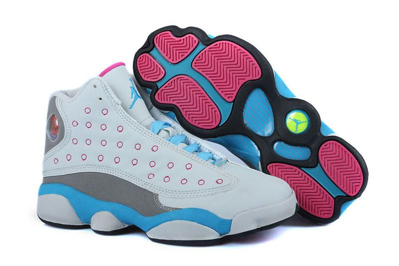 Girls Air Jordan 13 White Pink University Blue