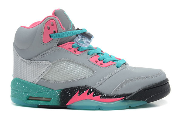 Girls Air Jordan 5 GS Miami Vice Grey Teal Pink