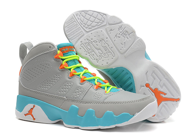 Girls Air Jordan 9 Retro GS Wolf Grey Neon Orange Mint Candy1