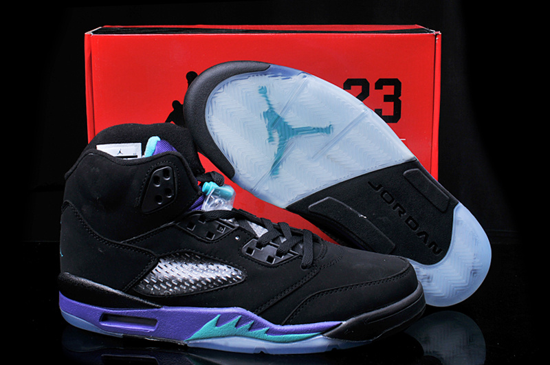 Hardback Air Jordan 5 Black Purple Shoes