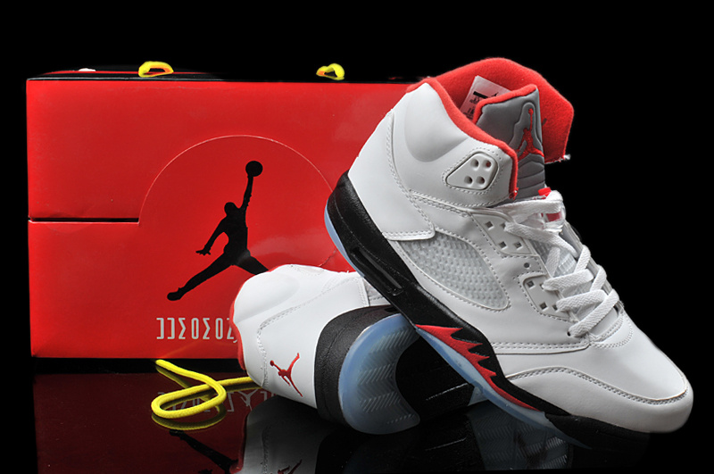 Hardback Air Jordan 5 White Black Red Shoes