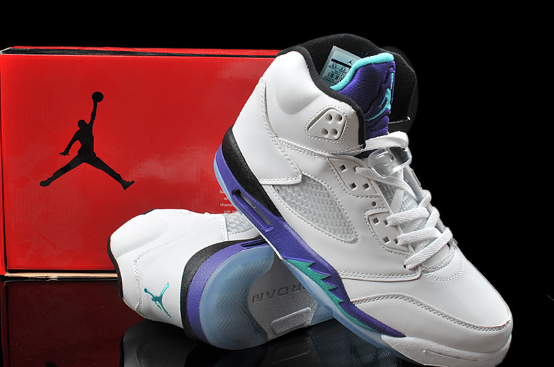 Hardback Air Jordan 5 White Purple Shoes