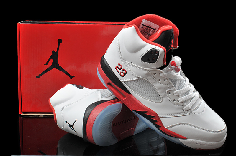 Hardback Air Jordan 5 White Red Black Shoes