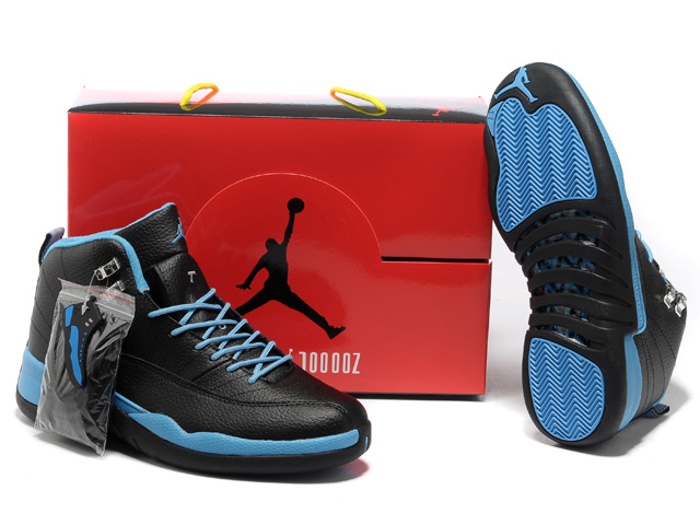 2013 Hardback Air Jordan 12 Black Blue Shoes - Click Image to Close