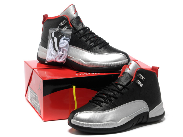2013 Hardback Air Jordan 12 Black Silver Red Shoes