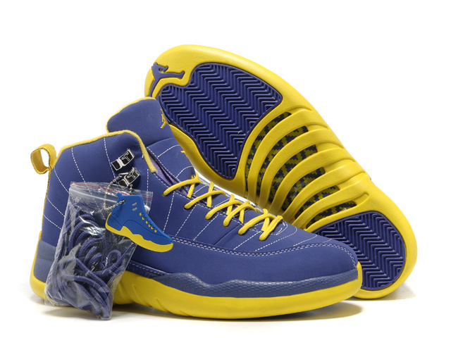 2013 Hardback Air Jordan 12 Blue Yellow Shoes