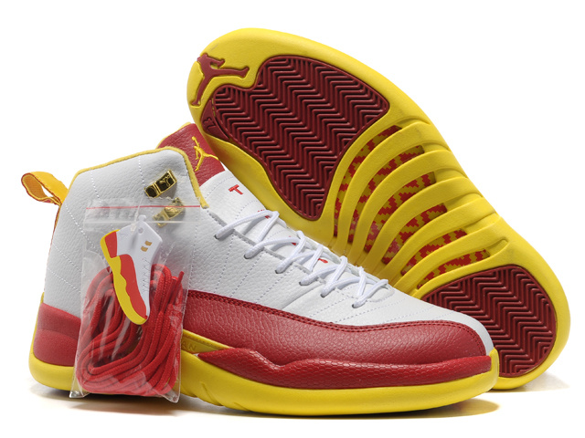 2013 Hardback Air Jordan 12 White Red Yellow Shoes