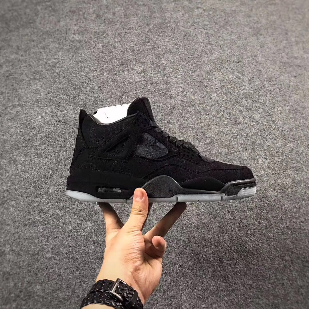 KAWS x Air Jordan 4 All Black Shoes For Women