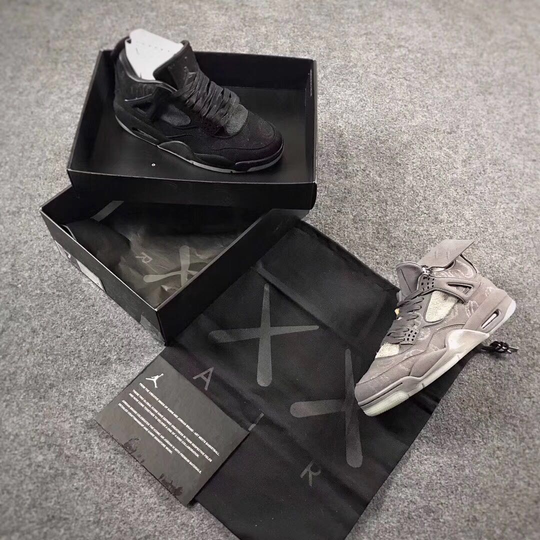 KAWS x Air Jordan 4 Combined Pack Black Grey Shoes Women