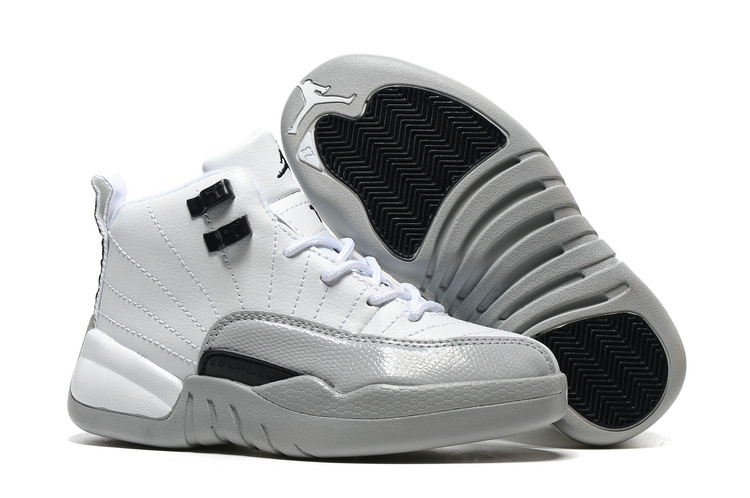 Kids Air Jordan 12 Barons White Black Wolf Grey