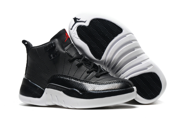 Kids Air Jordan 12 Black Nylon Black White Gym Red