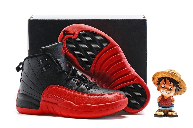Kids Air Jordan 12 Retro Black Varsity Red 2016