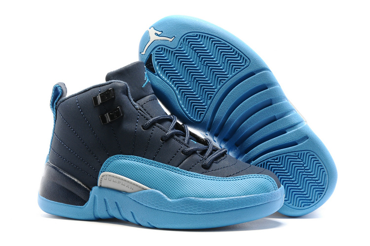 Kids Air Jordan 12 Retro Blue Navy 2016
