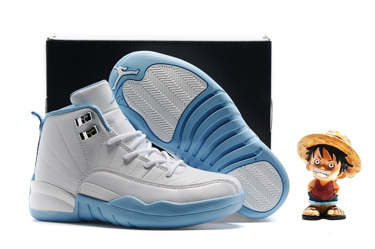 Kids Air Jordan 12 Retro Melo White Metallic Gold University Blue