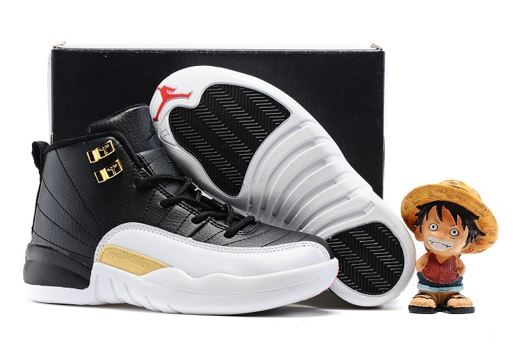 Kids Air Jordan 12 Retro Wings Black Metallic Gold White