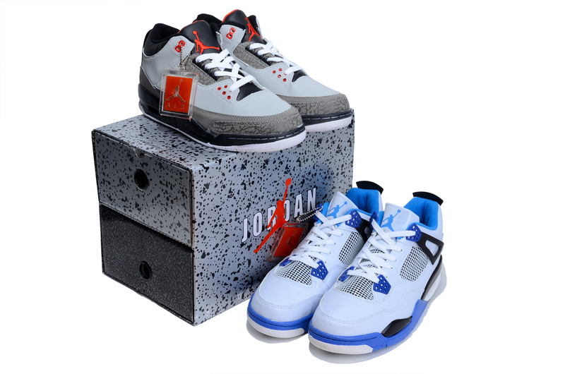 Authentic Jordan Grey Black 3 And White Blue Jordan 4 Combined