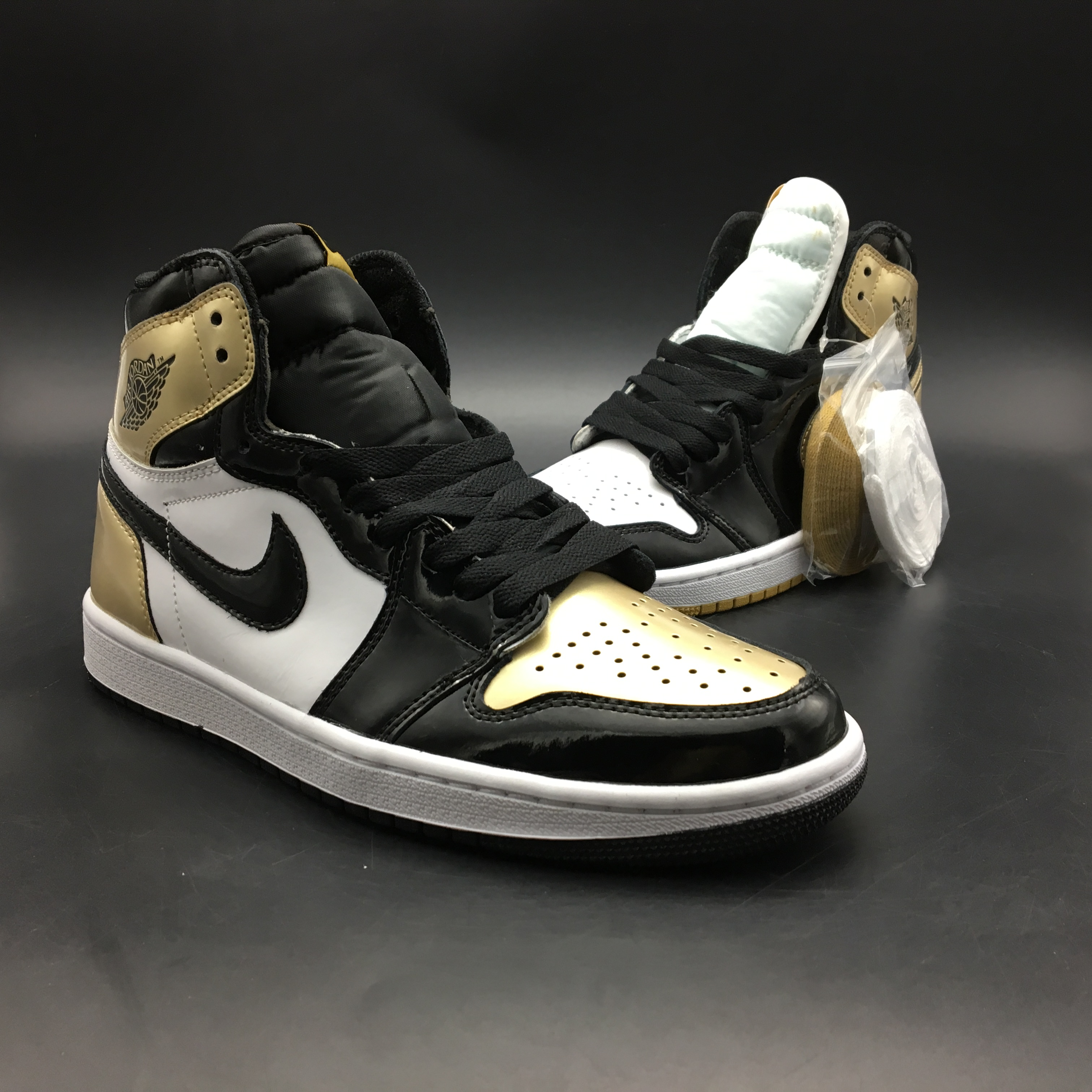 Air Jordan 1 Retro Black White Gold Shoes For Women