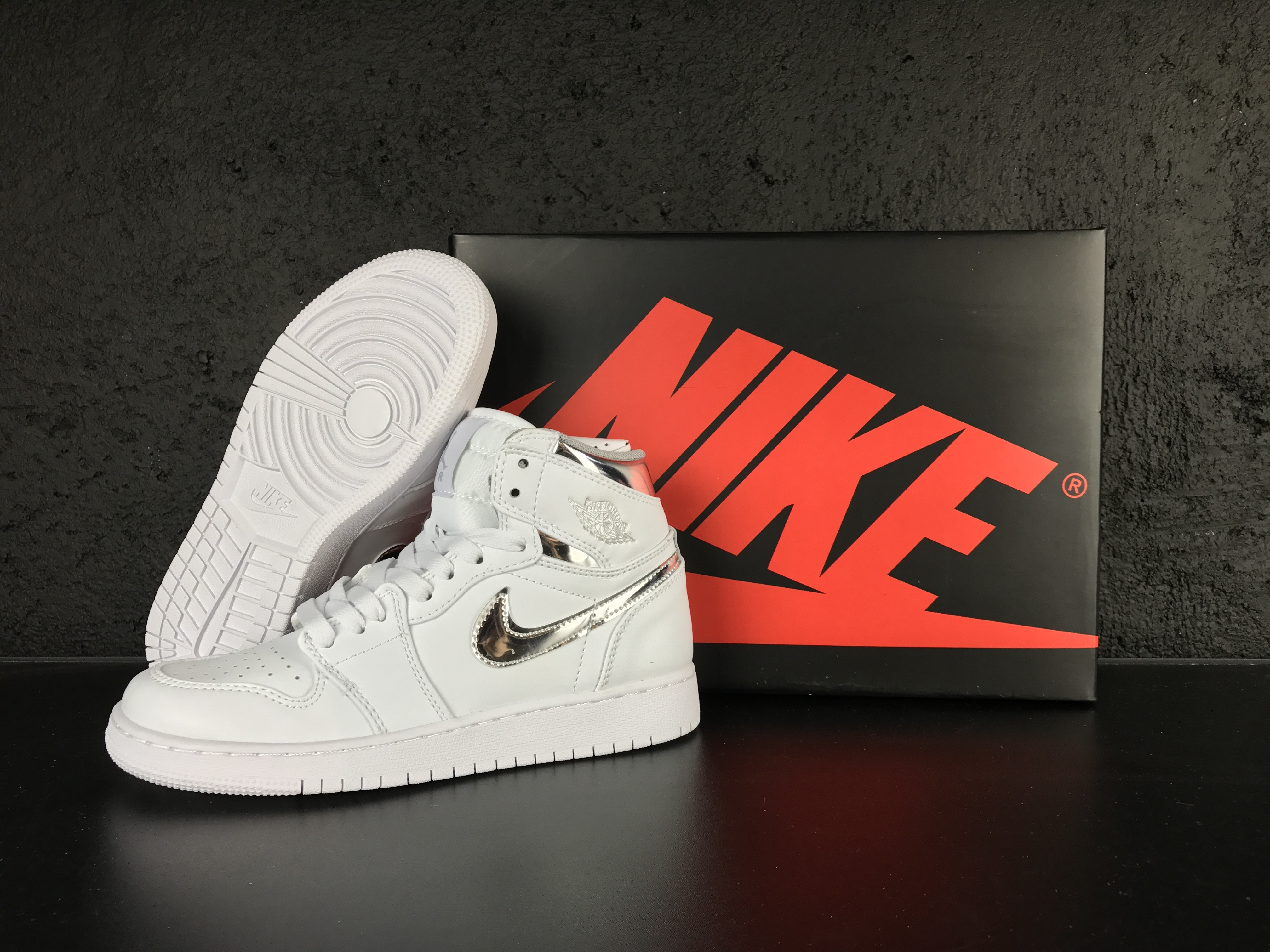 Women 2017 Air Jordan 1 Retro White Silver Shoes
