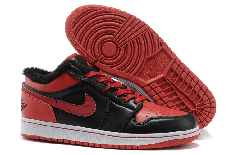 Comfortable Low-cut Air Jordan 1 Wool Black Red White Shoes