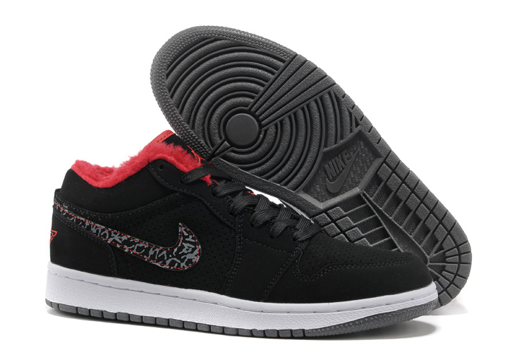 Comfortable Low-cut Air Jordan 1 Wool Black White Grey Shoes