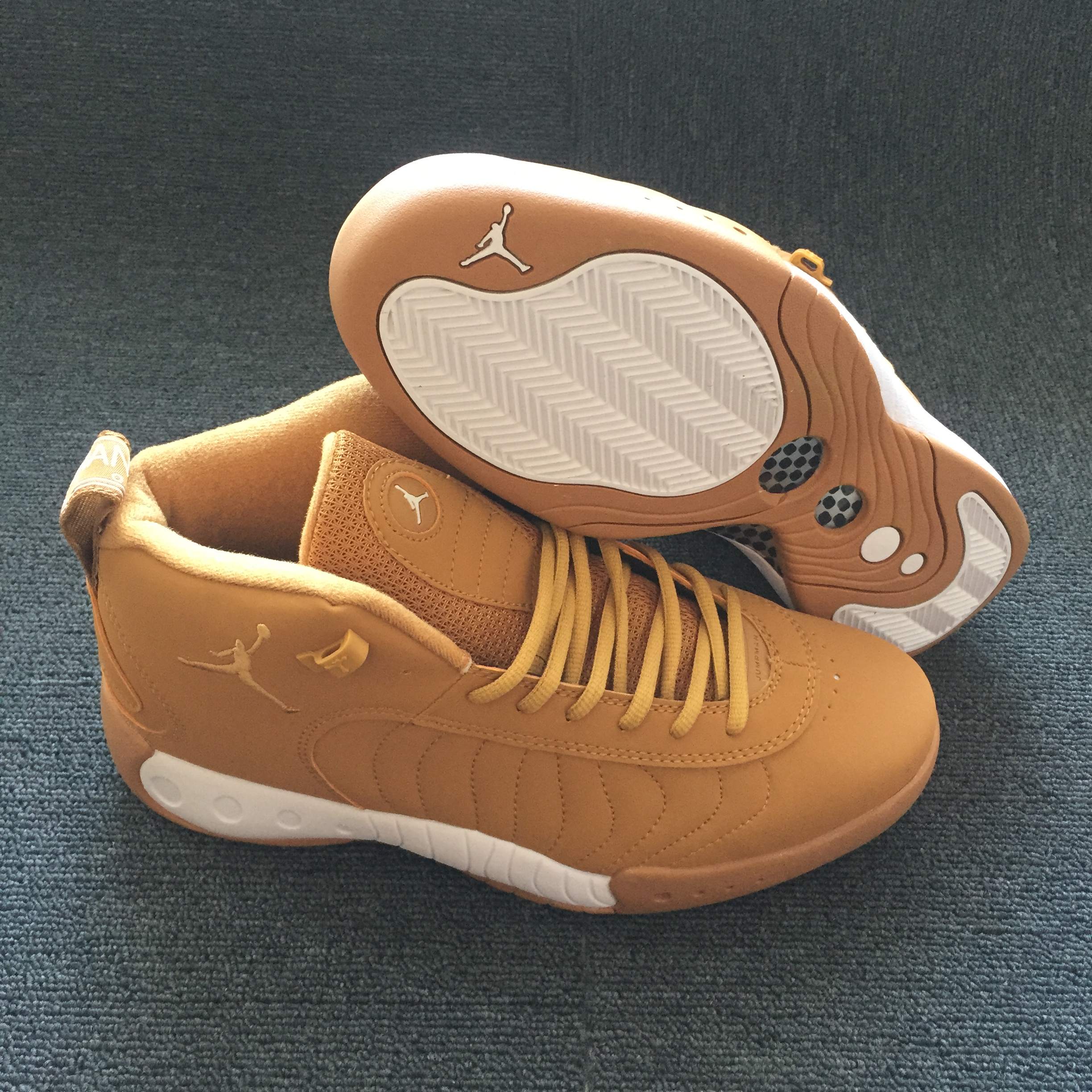 Men Air Jordan 12.5 Wheat Yellow White Shoes