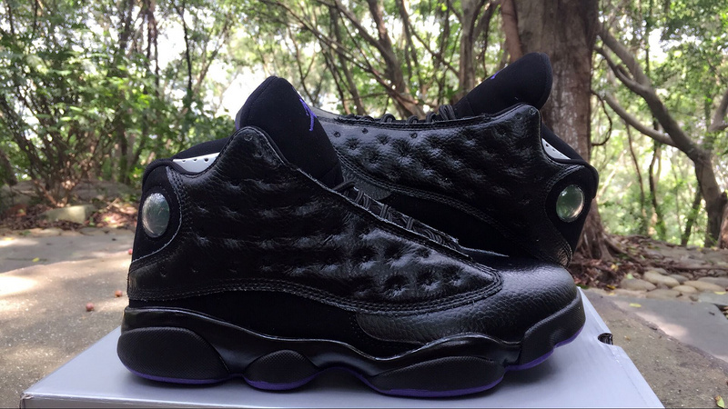 Men Air Jordan 13 Black Purple Shoes