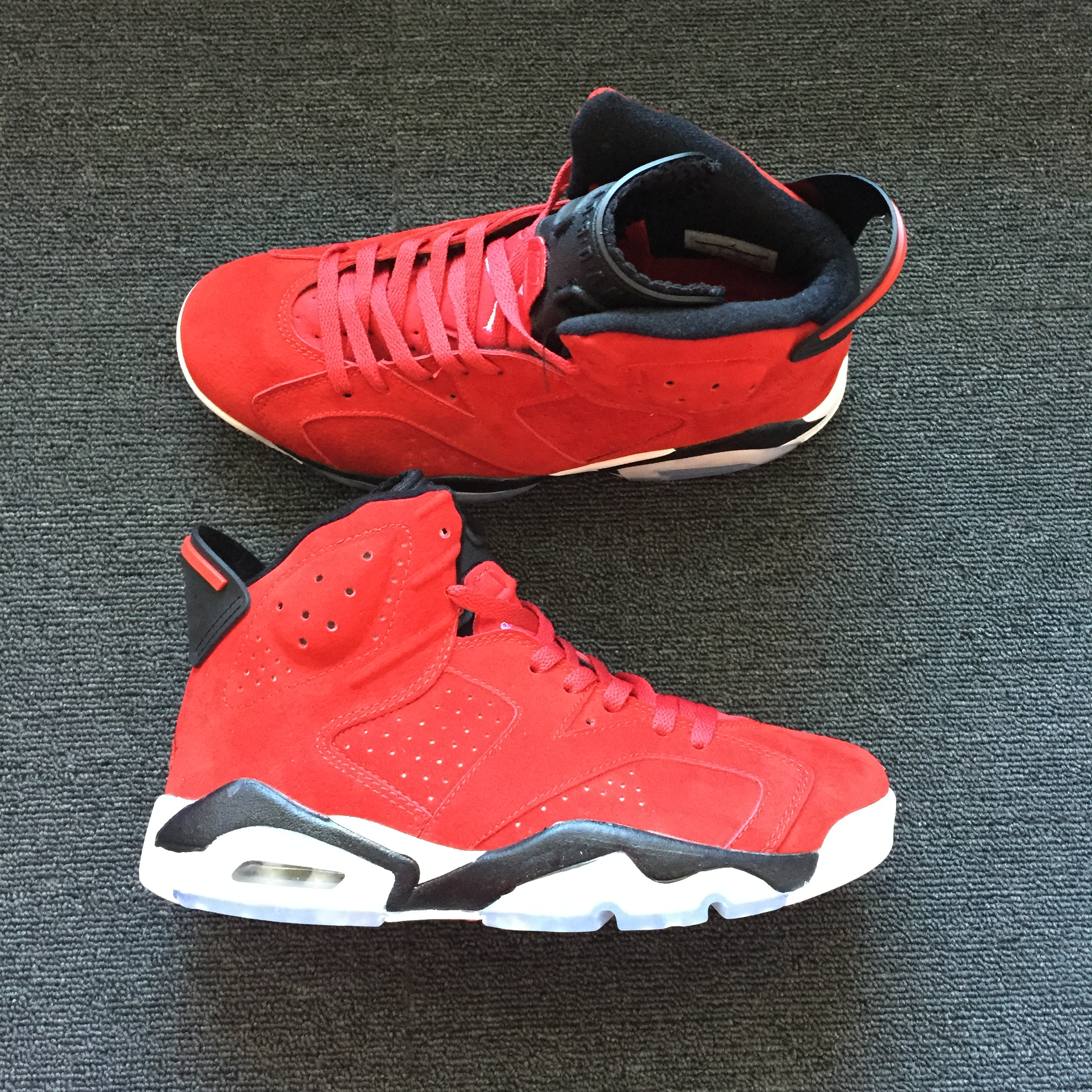 Men Air Jordan 6 Deer Skin Red Black Shoes